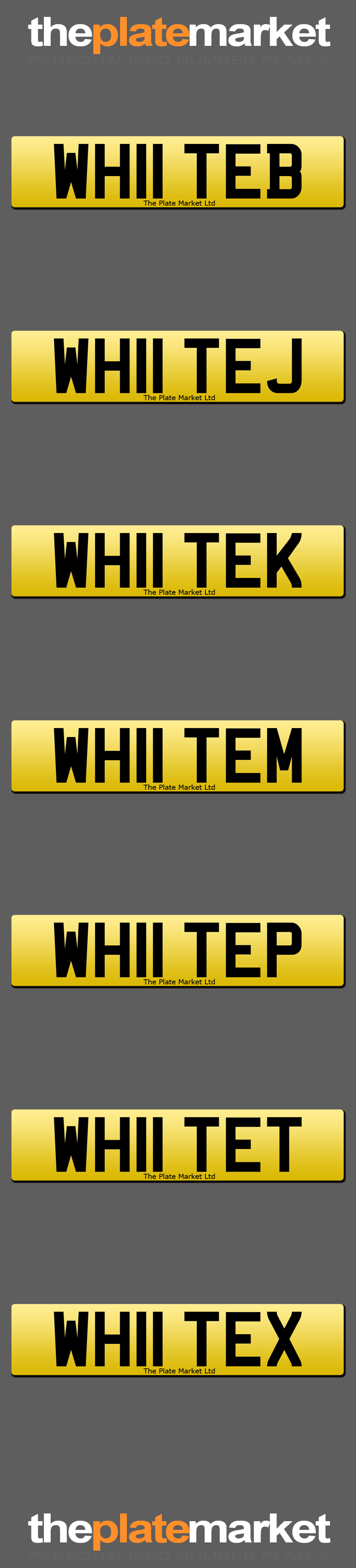Personalised number plates surname WHITE