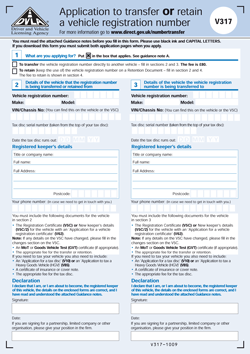DVLA form V317 number plate transfer and retention