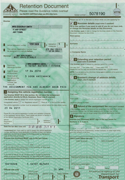 DVLA Retention Certificate V778