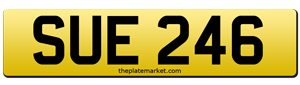 Sue number plate