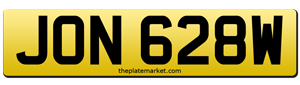 suffix number plate JON 628W